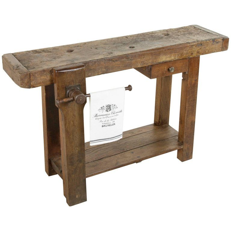 Early 20th Century French Oak Workbench Sofa Table With Single Drawer And Vice For Sale French Oak Sofa Table Oak