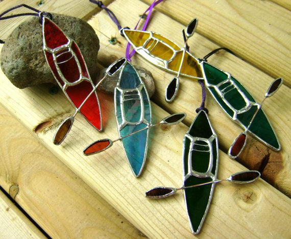 60dbe947ae17a9 Kayak Stained Glass Suncatcher Boats Lake Water Craft Fathers Day Tree  Ornament Sports Christmas Original Design©