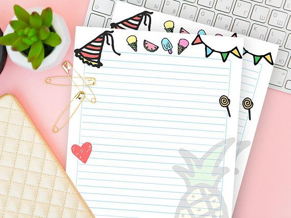 summer printable lined paper ruled notebook sheet writing