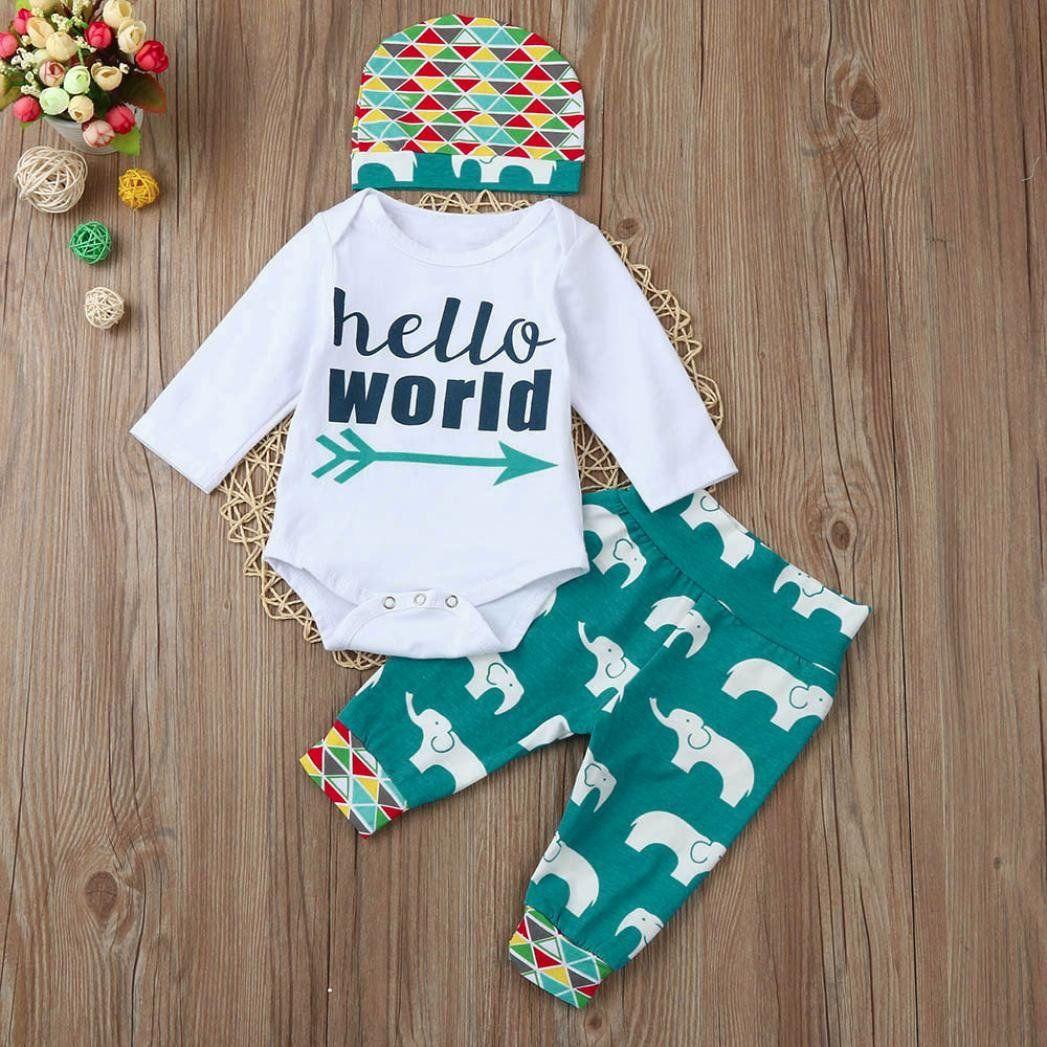 165b360b3ac Staron 3Pcs Infant Baby Boy Outfits Set Newborn Hello World Romper Tops Pants  Hat 03 Months