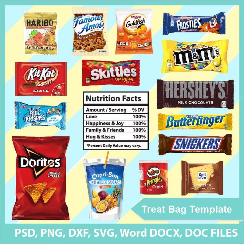 Bundle Treat bag template, Chip Bag Template, PSD, PNG