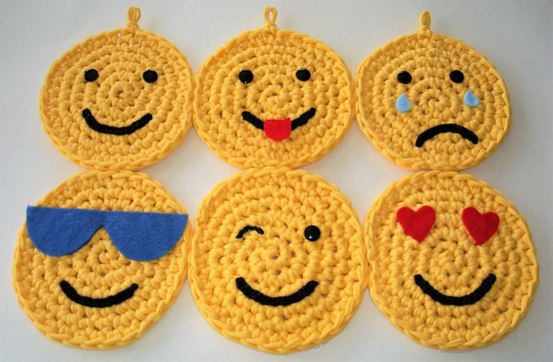 Six Emojis, Set of Six Crochet Emojis, Made from New Yellow T-Shirt Yarn, Wall Hanging, Wall Decor, Kid's Room Or Playroom, Child's Gift