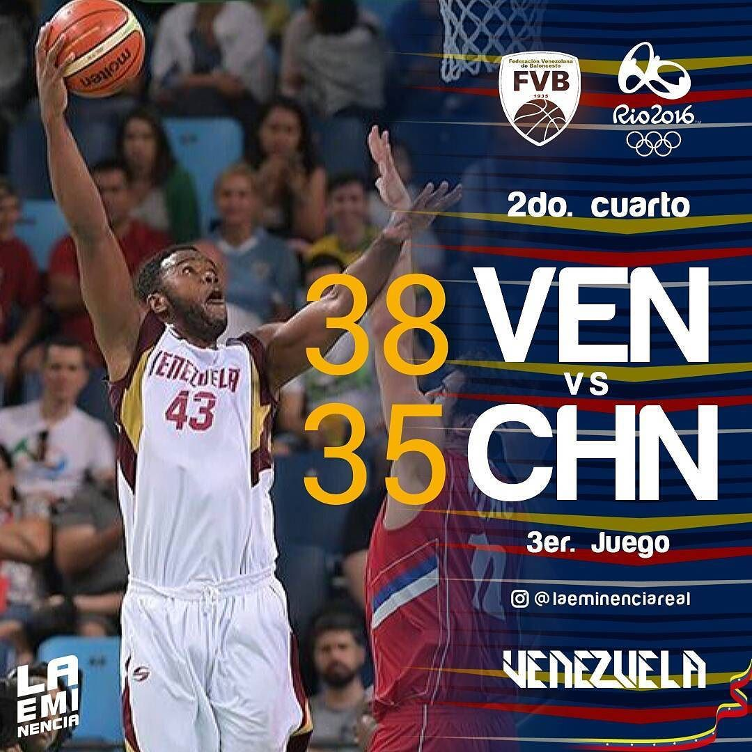 Via Instagram LAEMINENCIAreal #Ven 38 Vs. #Chn 35  2do. Qt. Si se puede go go go  #Vzla2K16 #rio2016  #JuntosSomosMas #Venezuela #juegosolimpicos #basket #Baloncesto #2K16  #basketball #laVinoTinto #somosvinotinto #sport #tw #LaEminencia #basquet