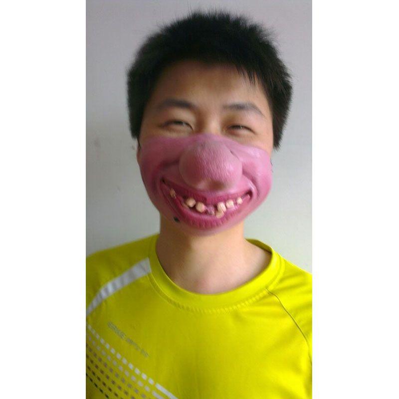 Kruip Funny Party Masker Latex Clown Cosplay Half Gezicht Horrible Scary Maskers Vrouw Man Dag dwaas Fancy Dress Masquerade