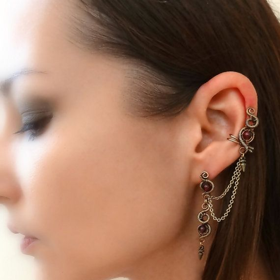 cb244a21f3514 Ear Cuff Piercing - Spike Cartilage Earring With Chain And Lobe Stud ...