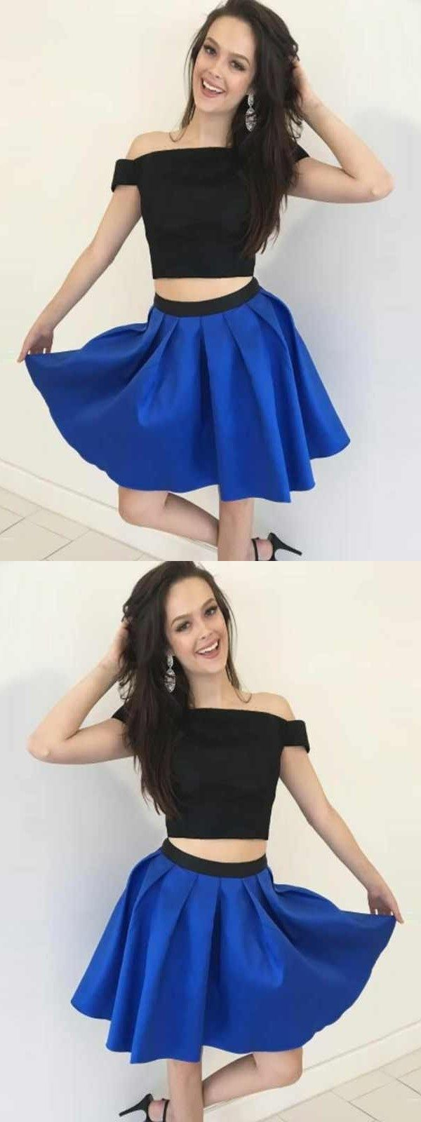 Two piece homecoming dresses a line simple cheap short prom dress