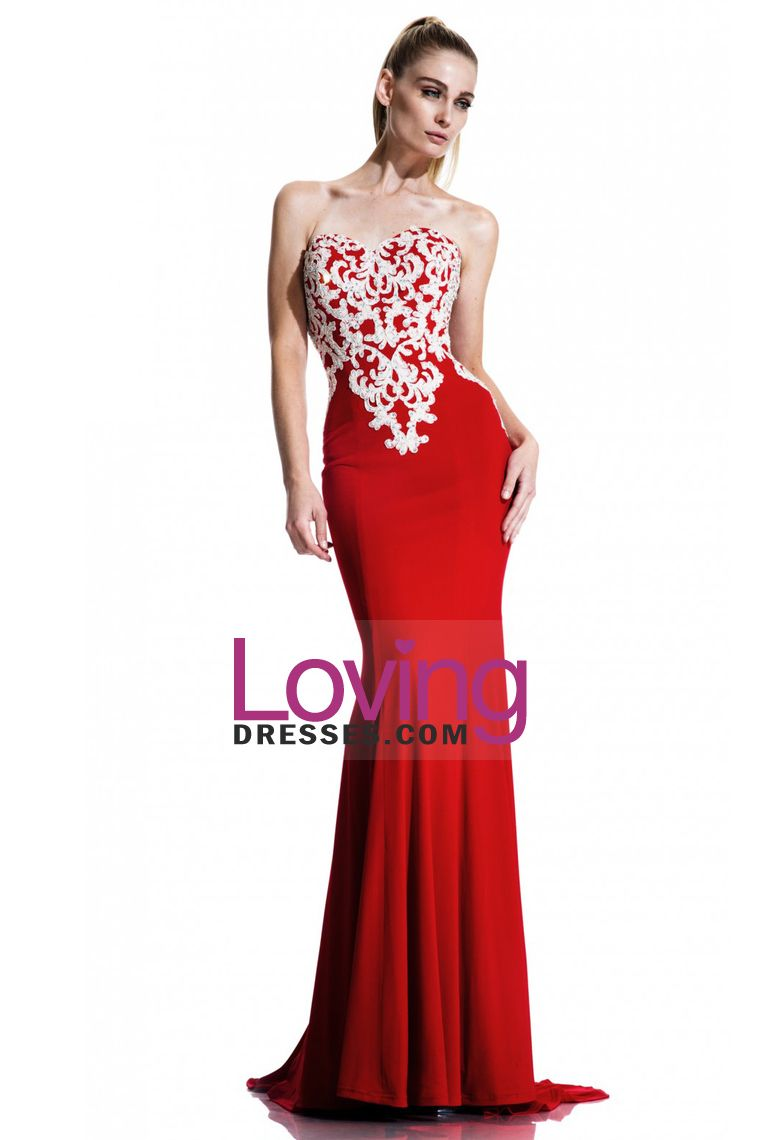sweetheart trumpetmermaid prom dresses sweep train with white