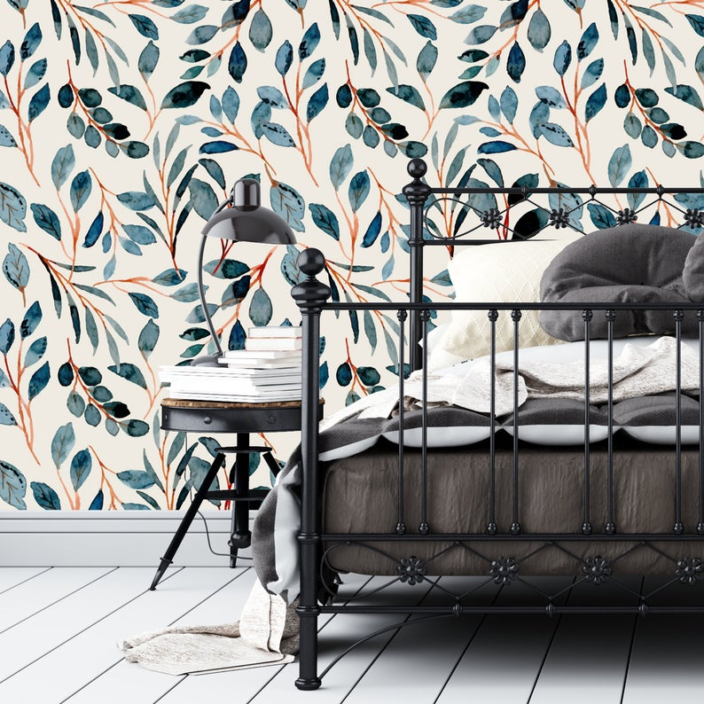 Removable Wallpaper Teal Orange Watercolor Leaves Peel And Etsy Removable Wallpaper Nursery Wallpaper Peel And Stick Wallpaper