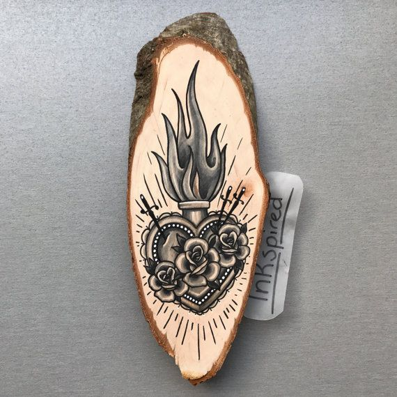 Wood slice with an original drawing of a sacred heart ...