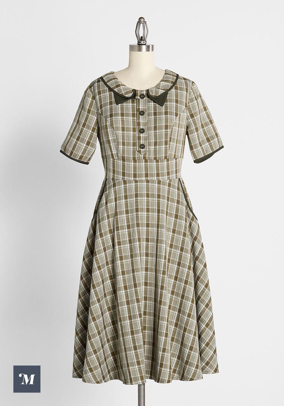 A Picnic For Two Dress Green Plaid Dress Mod Cloth Dresses New Arrival Dress [ 1303 x 913 Pixel ]