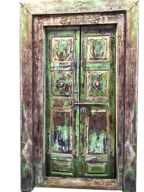 India Antique Doors Distressed Green Patina Jaipur Door with Frame - India Antique Doors Distressed Green Patina Jaipur Door With Frame