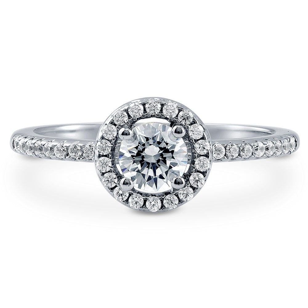 a27112e789d12 Sterling Silver Halo Ring Made with Swarovski Zirconia Round 0.63 ...
