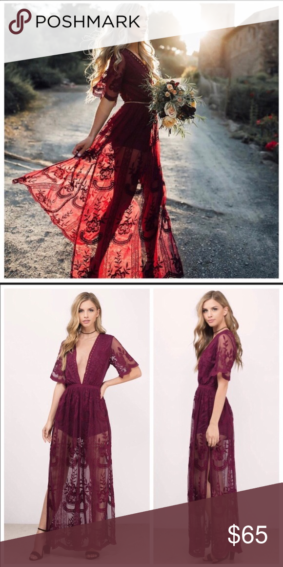 f9a590ef38c6 Lace Long Maxi Romper Wine colored Beautiful floor length lace maxi romper.  Has skits on either sides