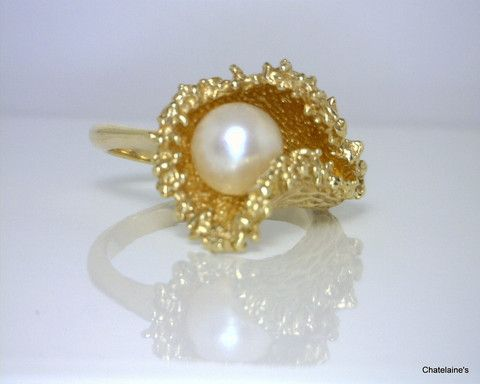 14k Gold Pearl Sea foam Ring – Chatelaine's