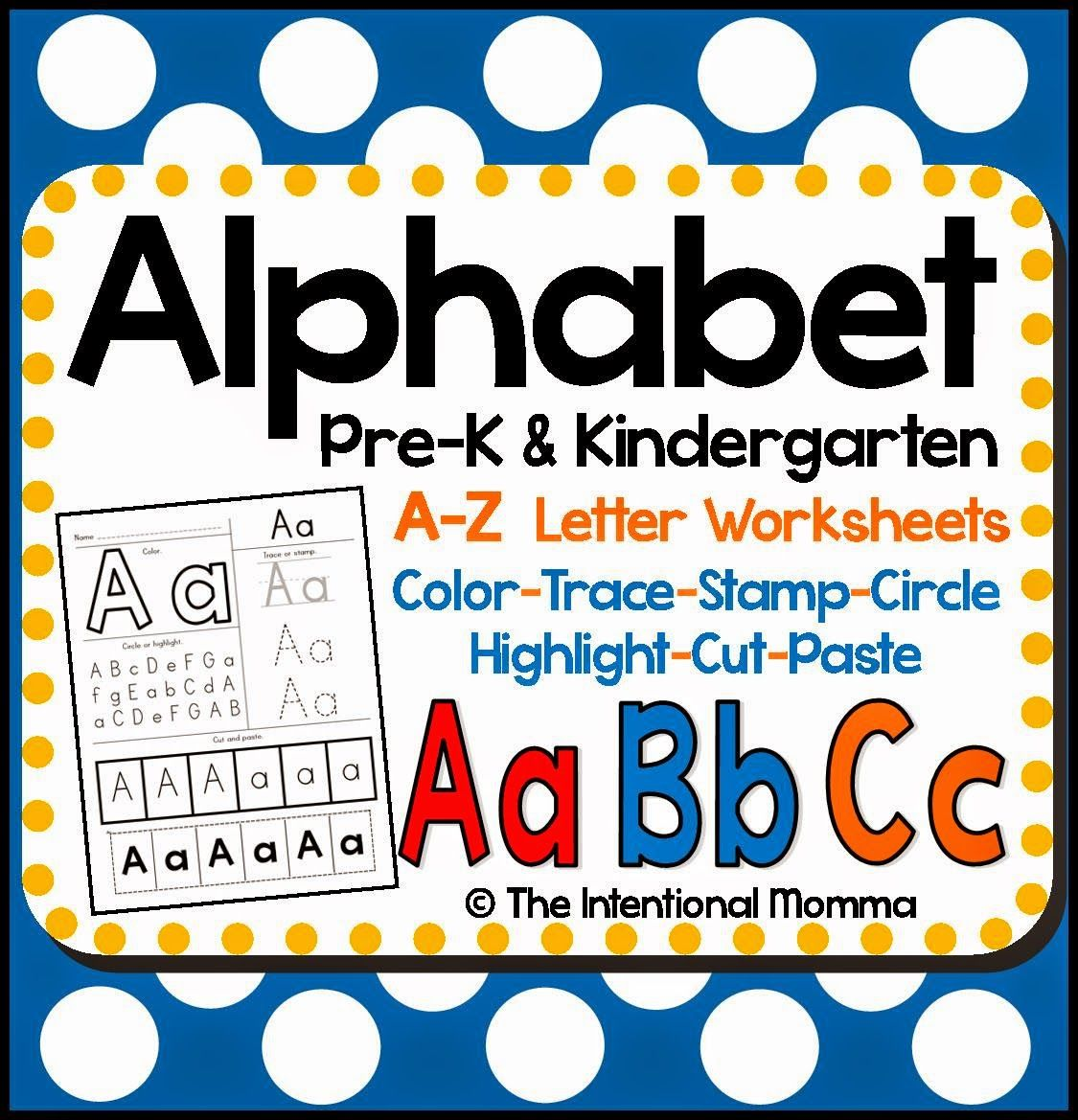 Alphabet Worksheets For Pre K And Kindergarten Simple And