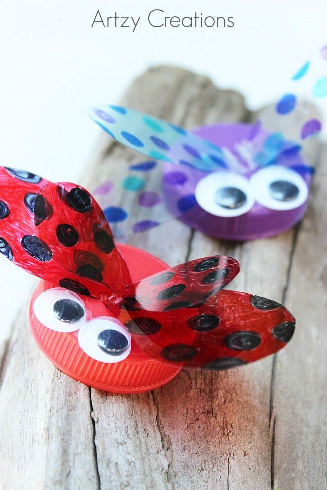 Make Bottle Cap Bugs Fun Kids Craft Ideas Bricolage