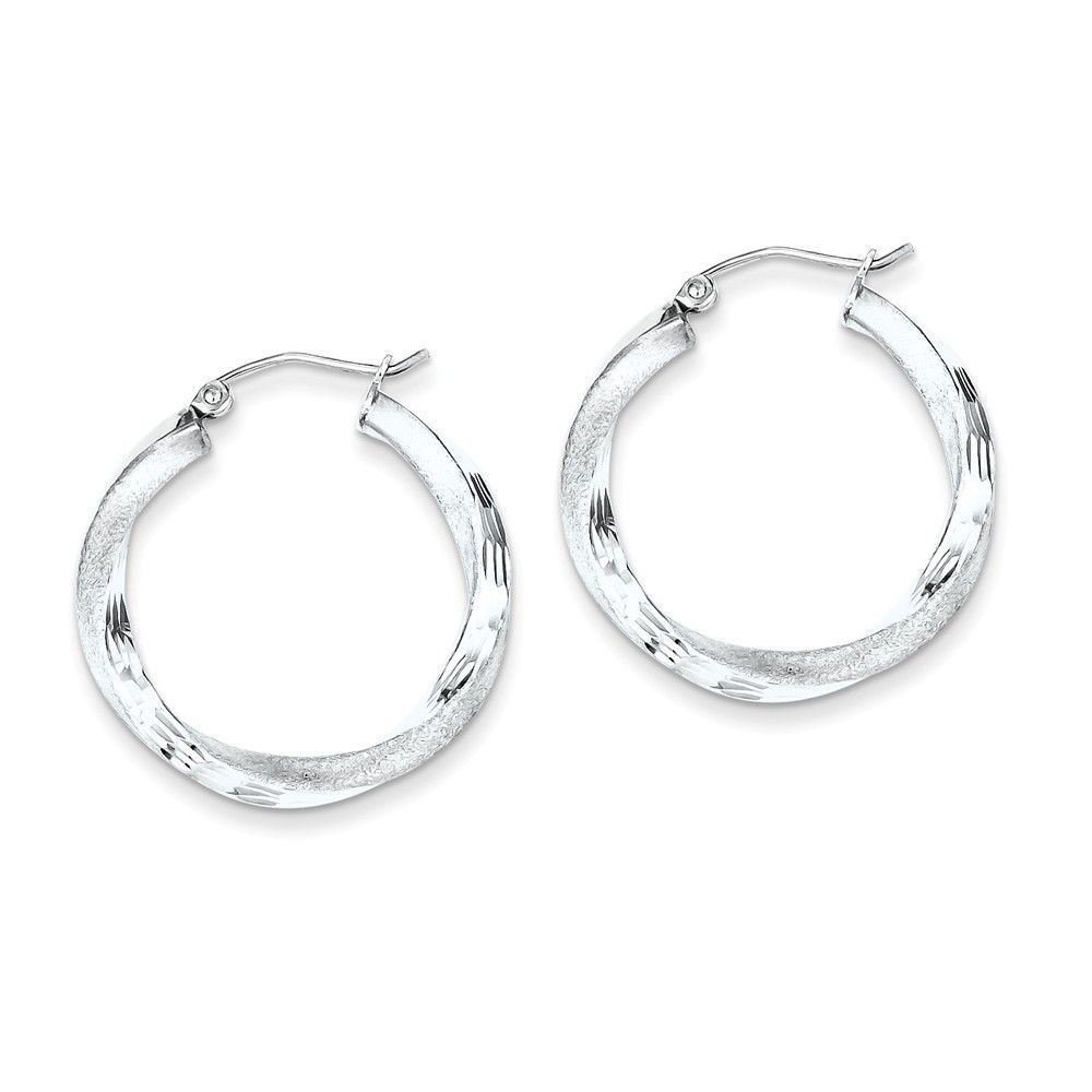 Sterling Silver Rhodium-plated 3.00mm Polished & Satin D/C Twisted Hoop Ear