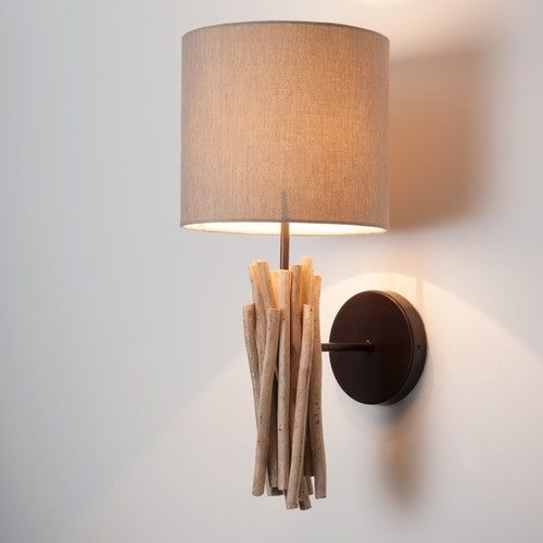 Applique in legno e tela beige H 20 cm FJORD
