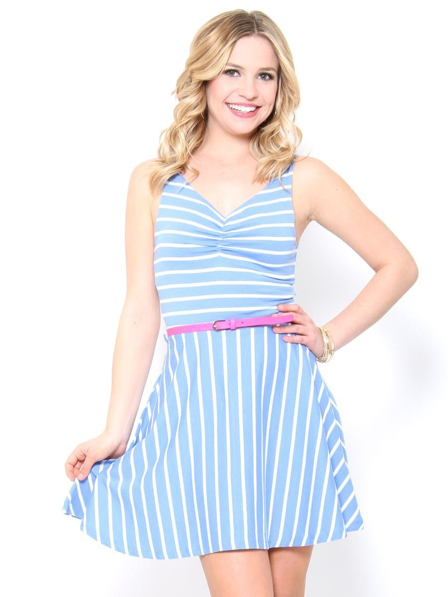 Belted Jersey Stripe Skater Dress  Skater Dress cute #casualoutfit #ramirez701 #SkaterDress #Skater #Dress #topdress www.2dayslook.com