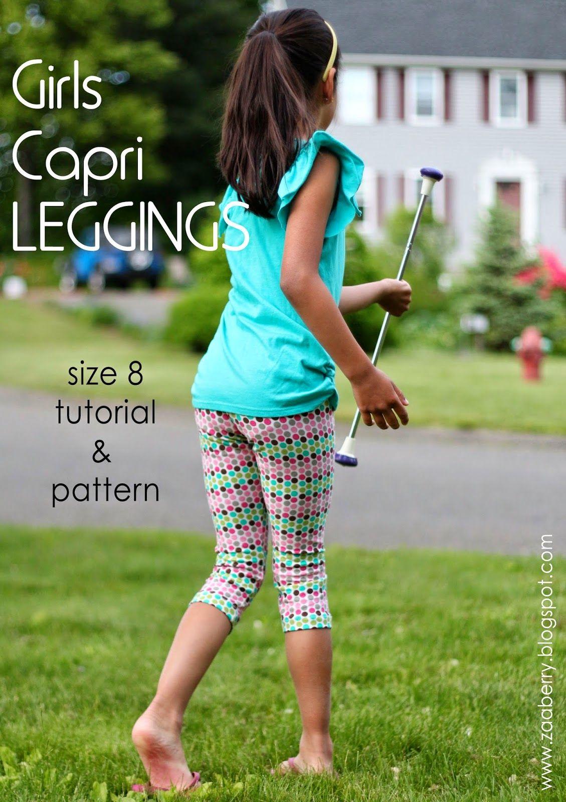 Size 8 Capri Leggings nähen | Mädchen Hosen - Freebooks Nähen ...