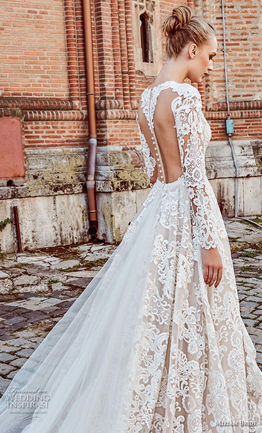 Miriams bride bridal long sleeves deep v neck full