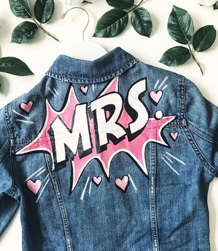 Cool DIY Denim Jacket Kits For The Bride Painted jeans