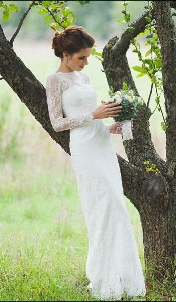 Fitted Style Lace Wedding Dress with Long Lace Sleeves L38, Romantic ...