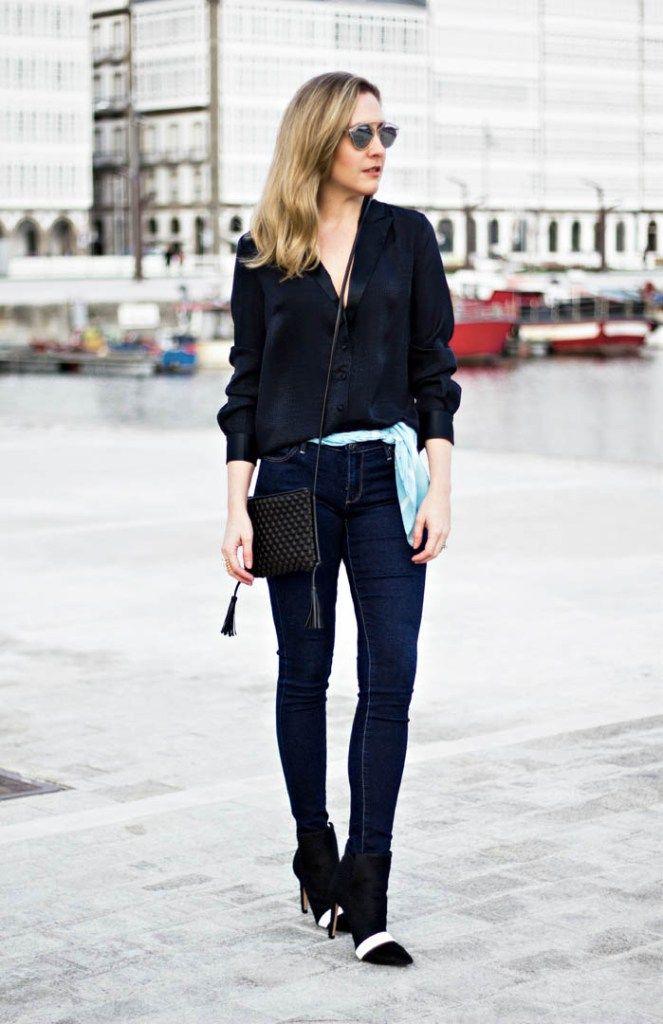 3dbd6dbc3a3af Image result for skinny jeans silk blouse