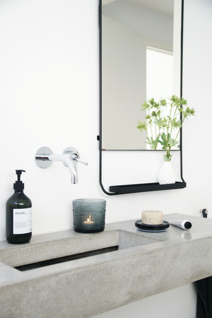 concrete vanity | mirror with tray | wall mounted faucet