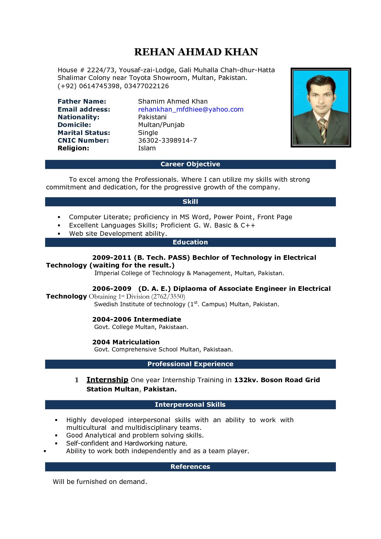 resume format in word for office boy