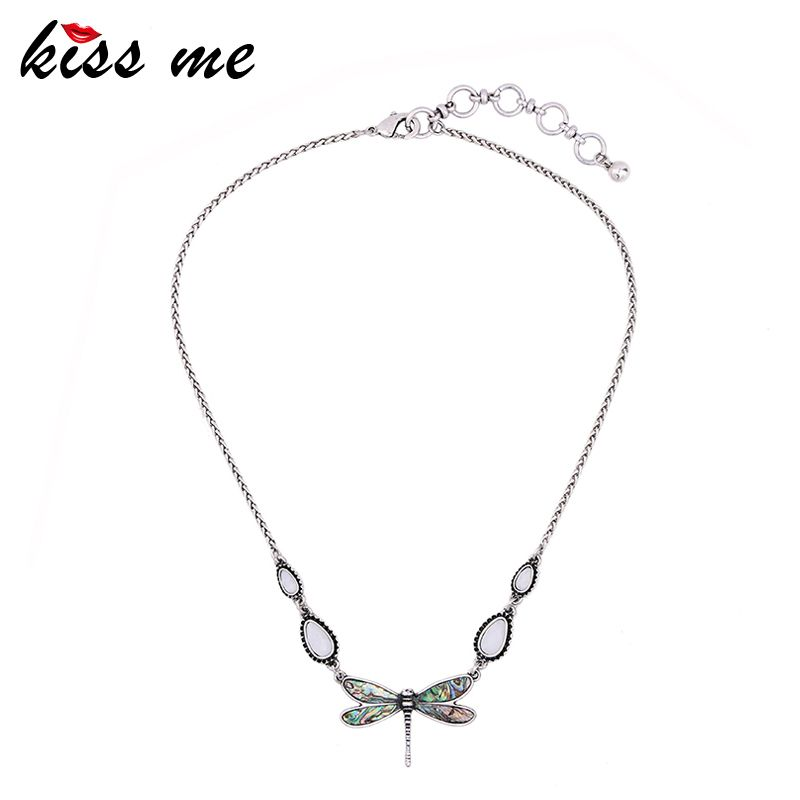 efba71a7fe1 KISS ME Simple Alloy Vintage Dragonfly Pendant Necklace 2017 New Brand Maxi Necklace  Fashion Jewelry