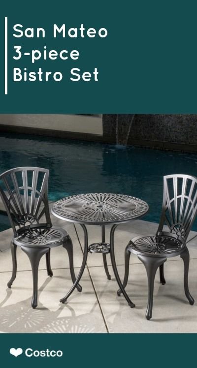 The San Mateo 3 Pc Bistro Set Features Stylized Details On Backrests Seats And Table Top That Are Eye Catching Without Being Flashy