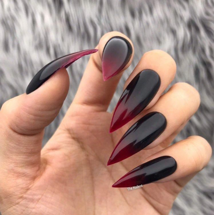 Vamp Black Red Ombre Glossy Halloween Press On Nai