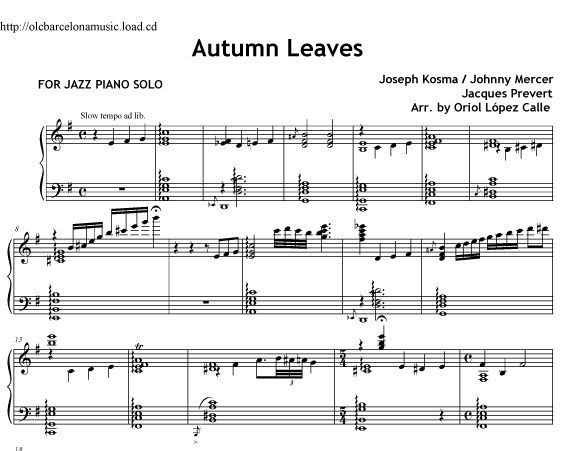 Autumn Leaves Sheet Music Jazz Piano Transcription With