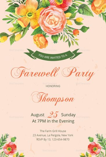Floral Farewell Party Invitation Template Farewell parties - invitation templates for farewell party