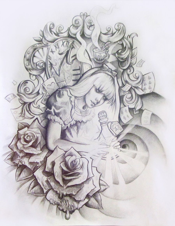 Alice In Wonderland Tattoo Design Wonderland Tattoo Alice And Wonderland Tattoos Alice In Wonderland Drawings