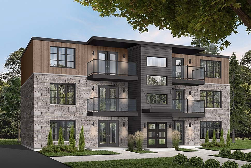 Contemporary Style MultiFamily Plan 65533 with 12 Bed, 6