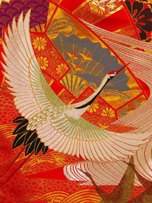 crane and wedding kimono kimono japonais grue et japonais. Black Bedroom Furniture Sets. Home Design Ideas
