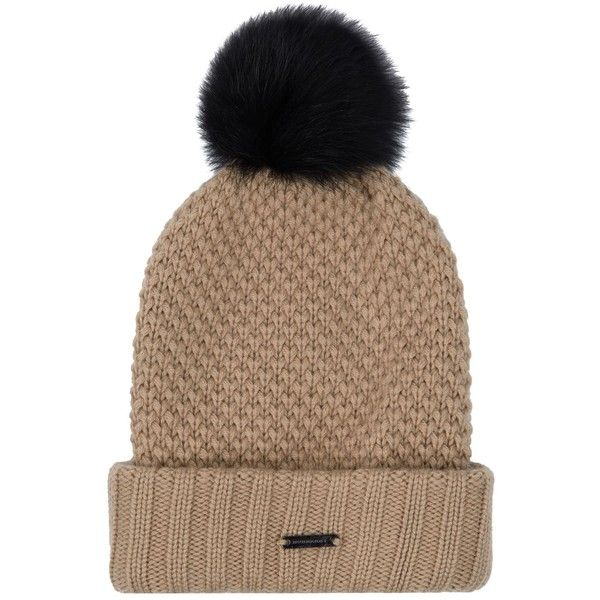 Burberry Fur Pom Pom Wool Cashmere Beanie Hat ( 395) ❤ liked on Polyvore  featuring 86712a52bf6
