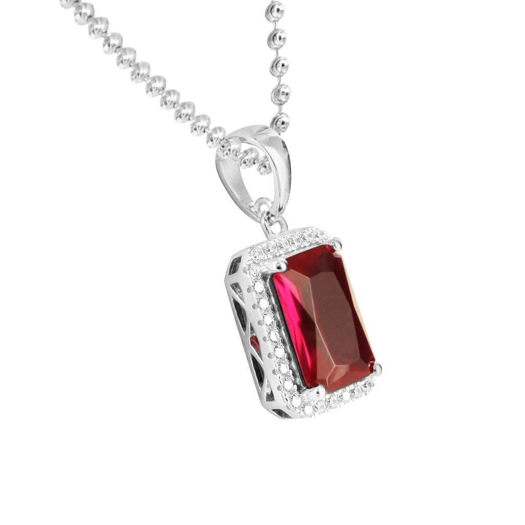 Red Ruby Garnet Solitaire White Gold Tone Pendant 925 Silver Moon Chai | Masterofbling