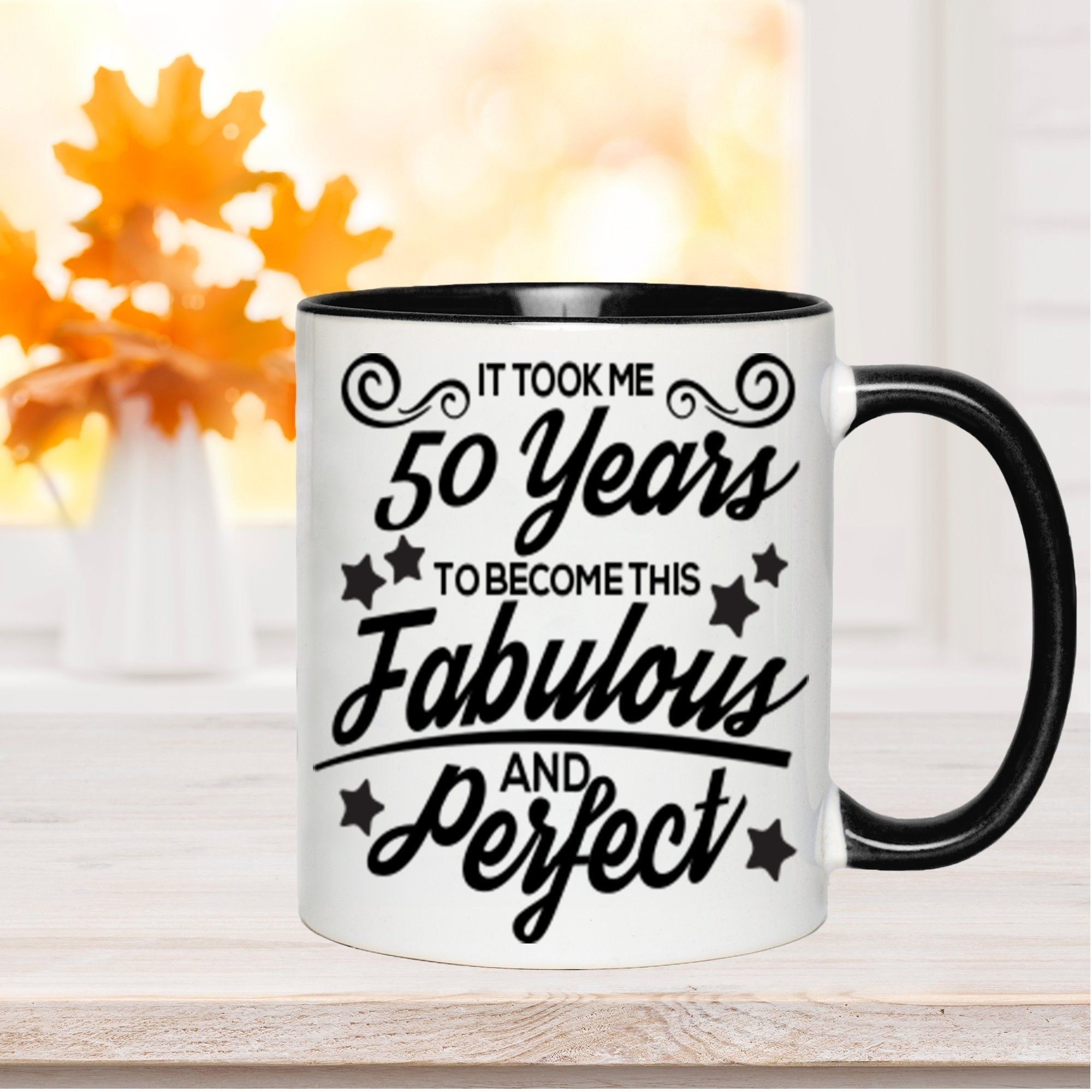 50th birthday gift for women fifty and fabulous mug funny