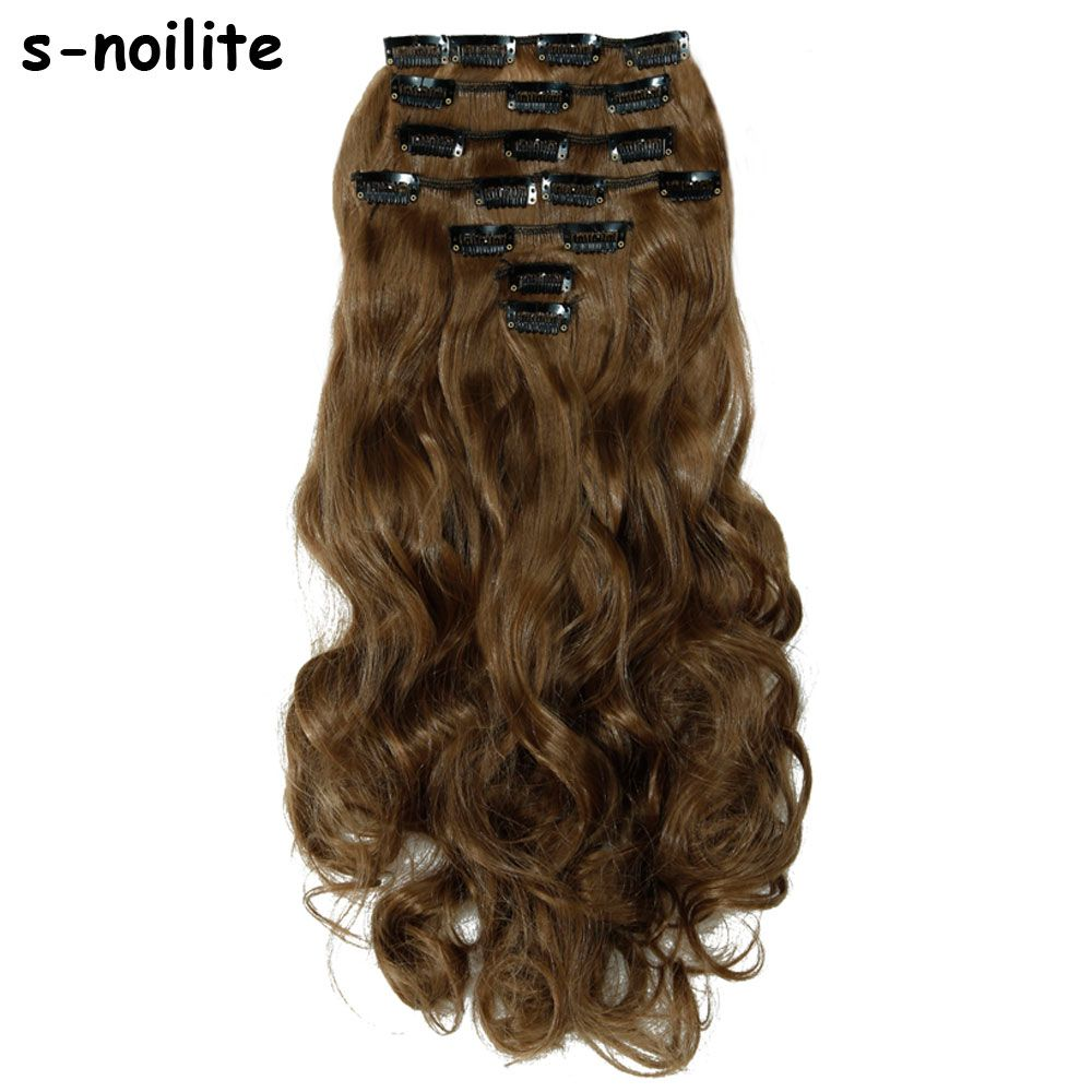 Snoilite synthetic clip in remy hair extension long curly