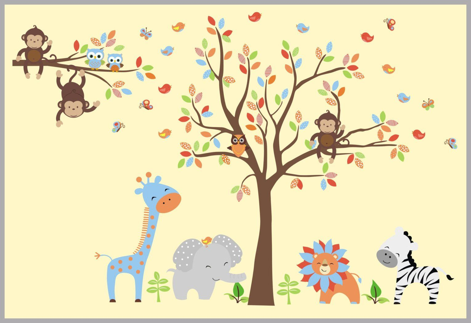 Jungle Animal Decals - Safari Animal Stickers - Wall Art for Baby ...