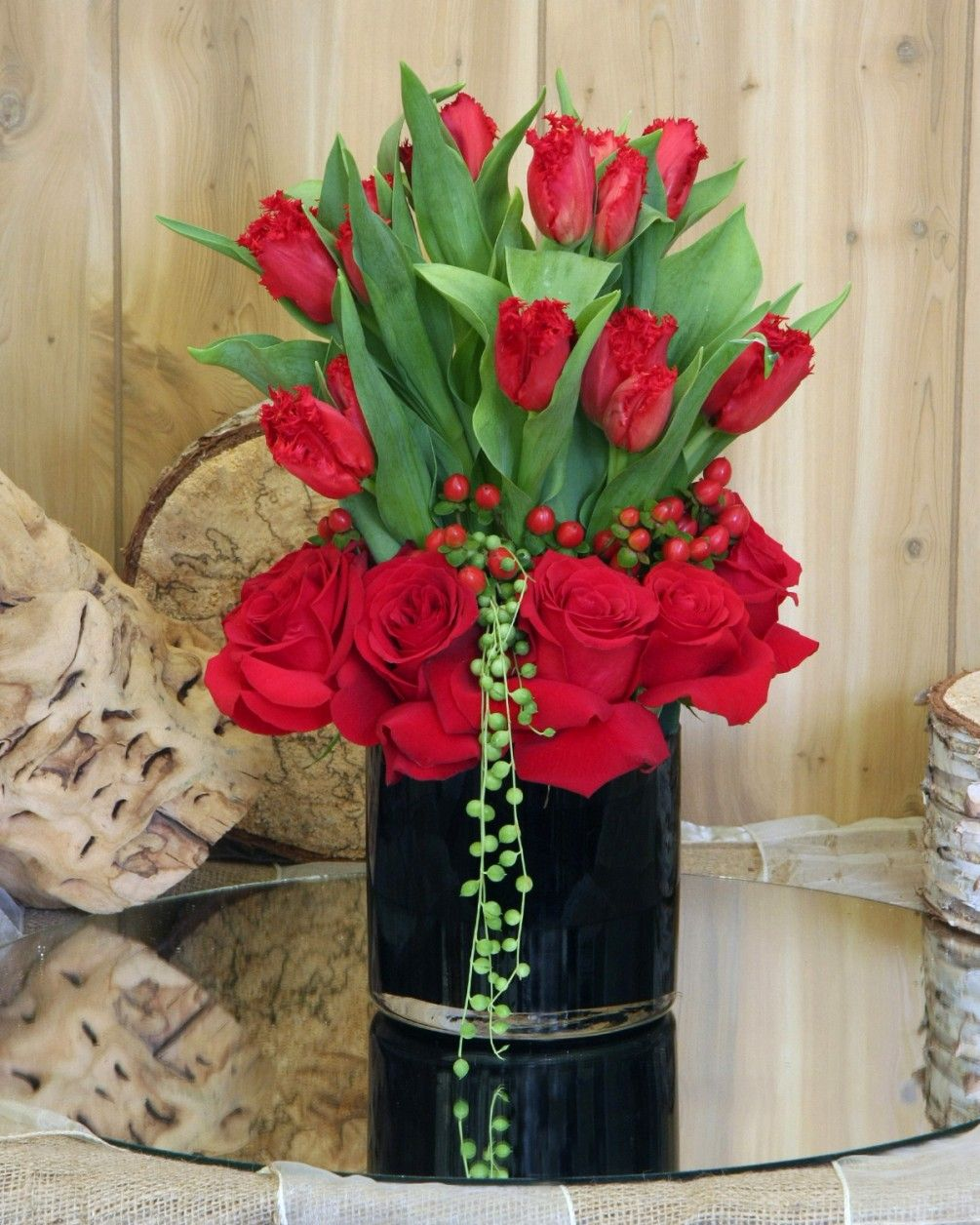 Black tie affair tef 019 valentine day pinterest red tulips fancy red tulips with a collar of red coffee bean and red izmirmasajfo