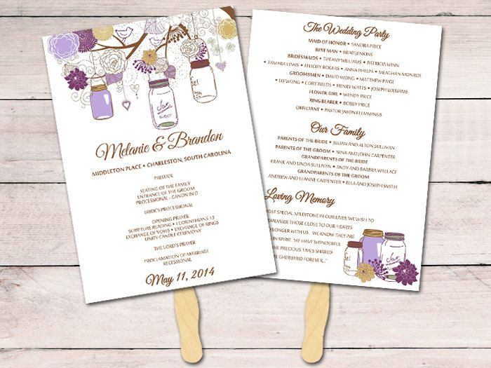 Mason Jar Wedding Program Fan Template Ceremony