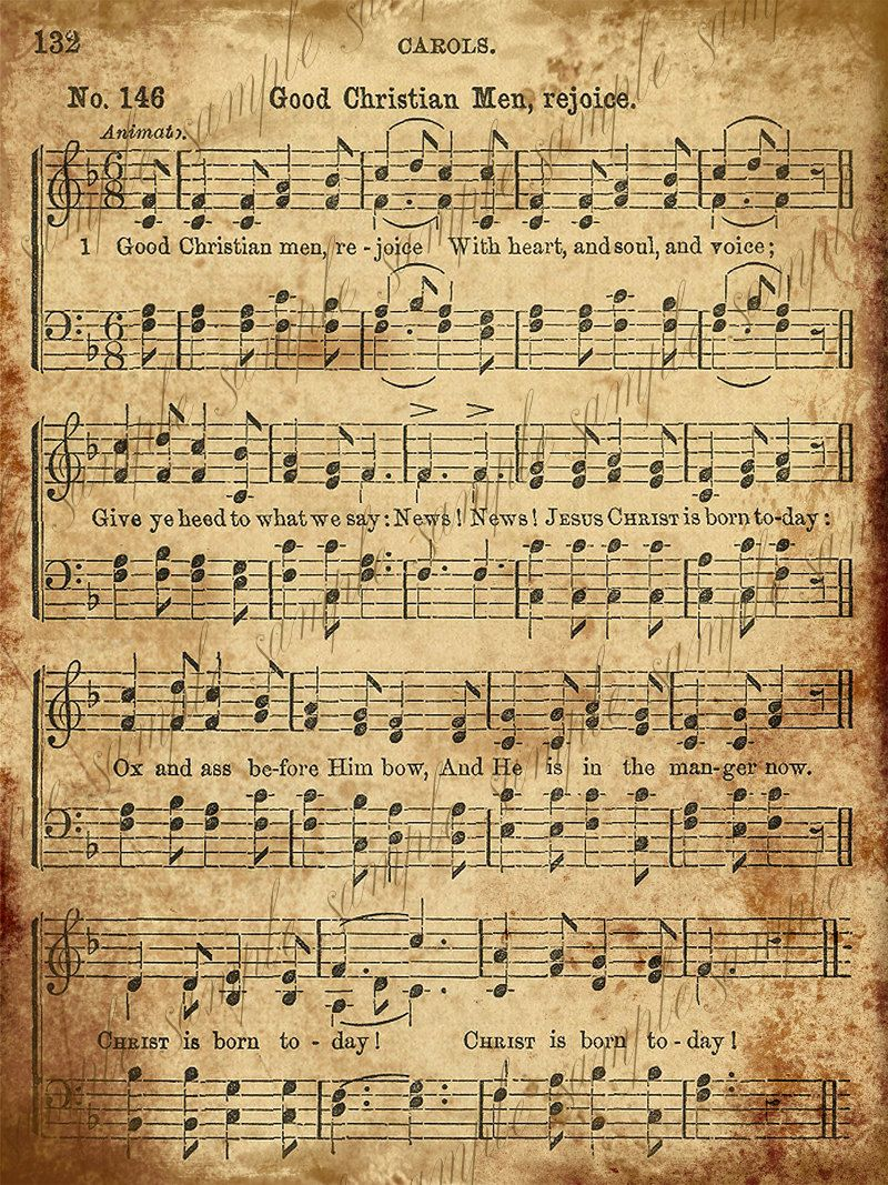 Grungy Aged Vintage Christmas Carol Music Digital Sheet  INSTANT Printab- 2 Sheets - Good Christian Men Rejoice and Good King Wenceslas #vintagemusic