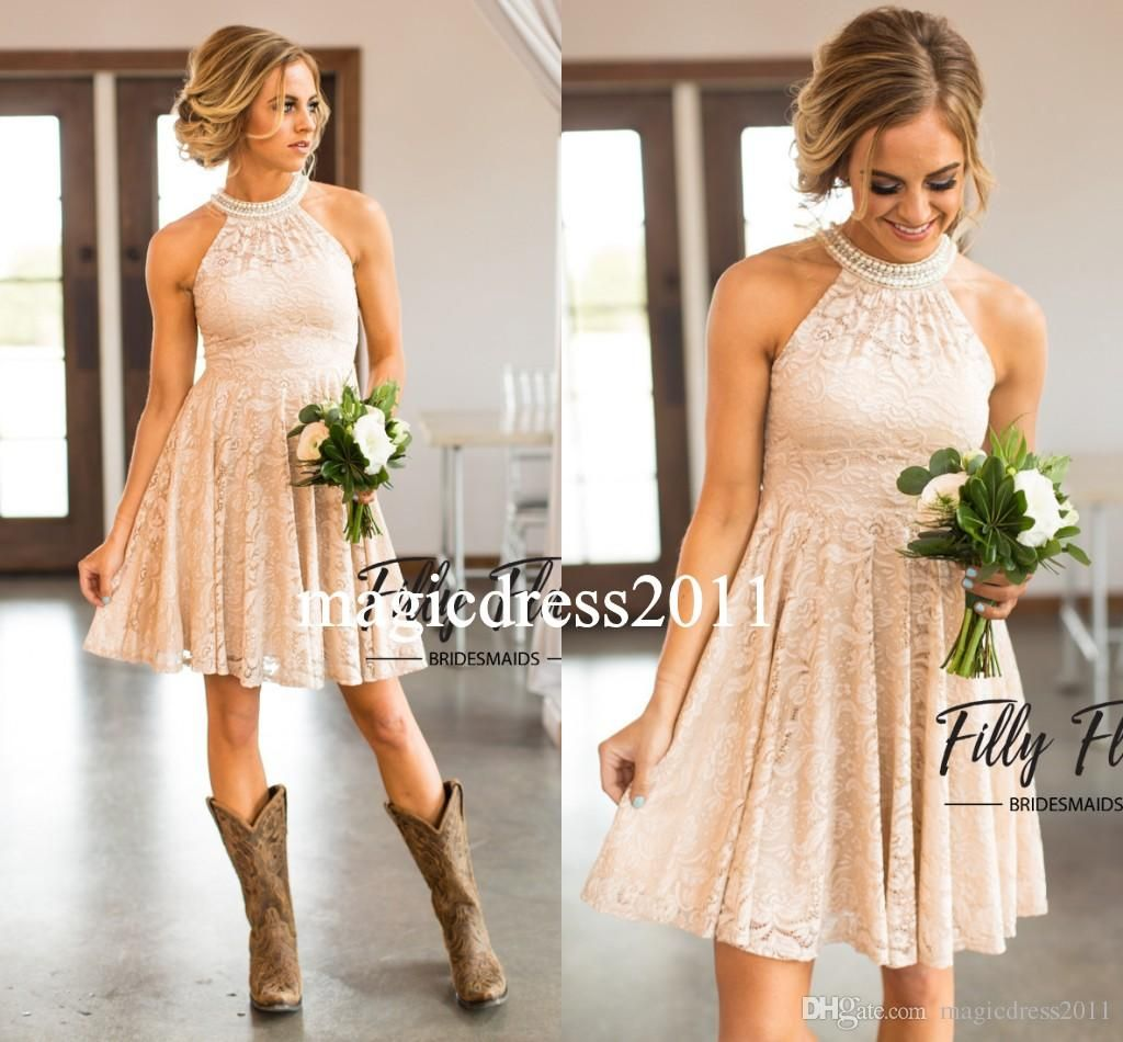 Dresses to wear to a beach wedding as a guest  Modern Nude Country Bridesmaid Dresses  A Line Halter Short Mini