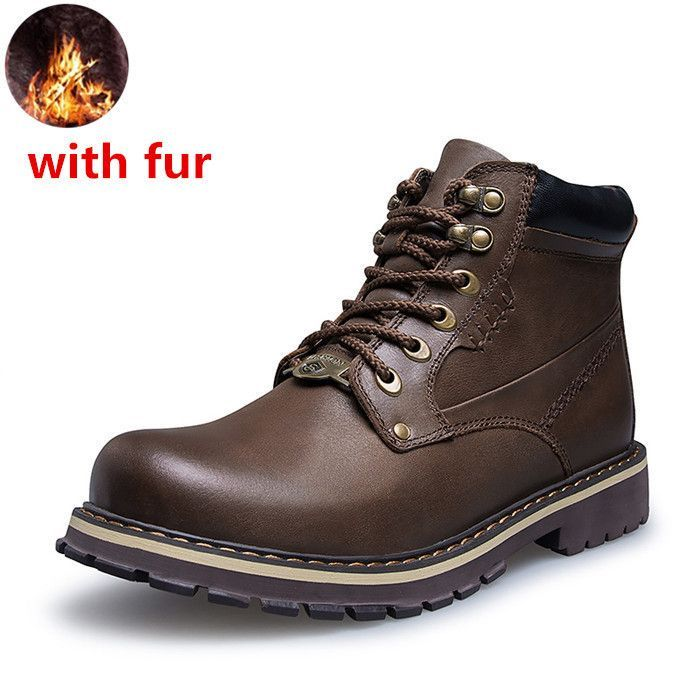Keloch Big Size 37-50 men's Work Boots 100% High Quality Genuine Leather Men Boots Winter Warm Snow Boots Men Logging shoes