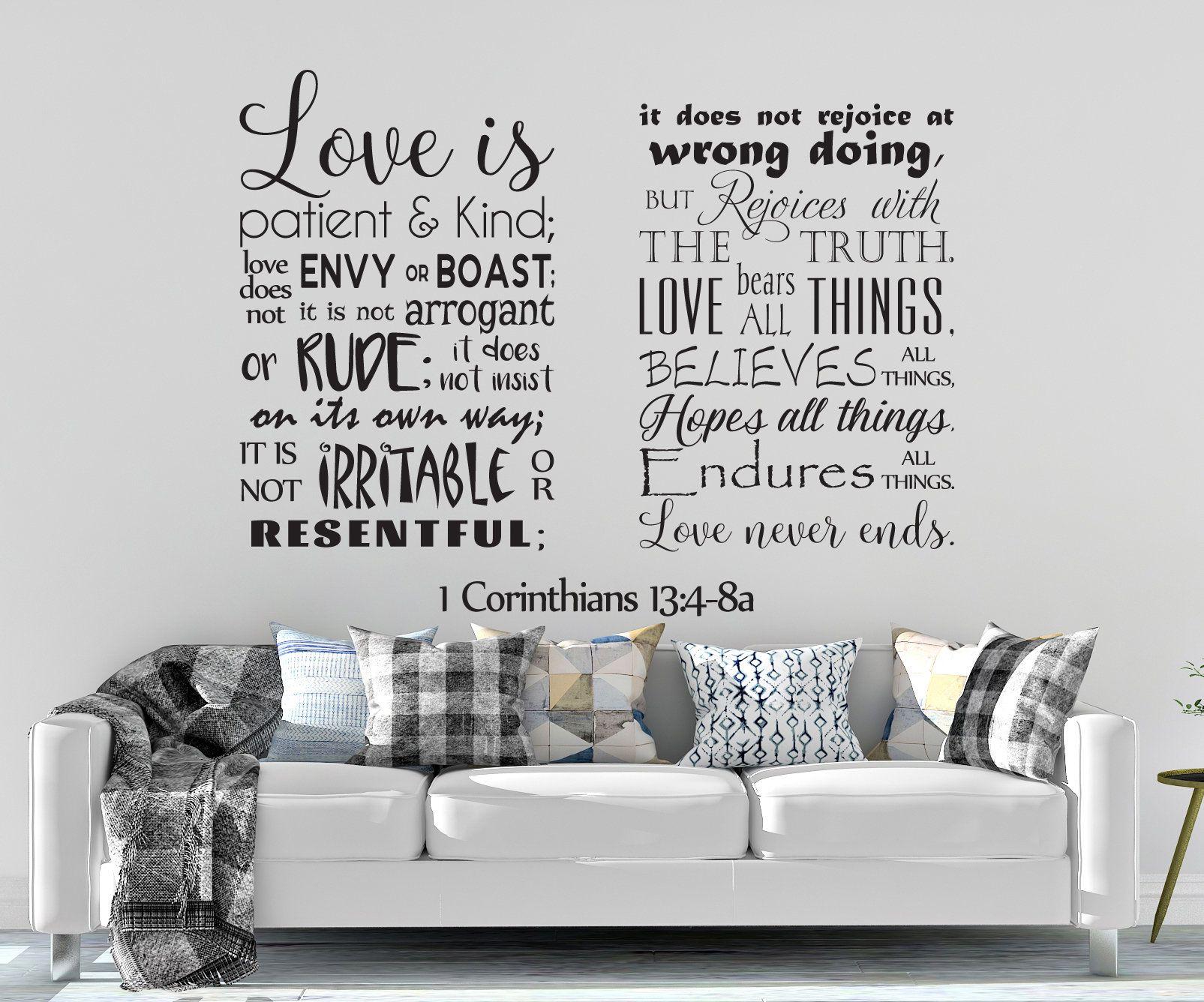 Vinyl Wall Decal 1 Corinthians 13 4 8 Love Is Etsy Vinyl Wall Decals Love Does Not Envy Wall Decals