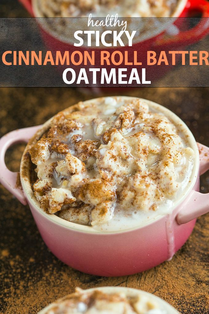 @thebigmansworld Sticky Cinnamon Roll Batter Oatmeal- Healthy yet this tasting EXACTLY like cinnamon roll batter!- Perfect hot or cold- Sugar free and protein packed option! {gluten free + vegan} -thebigmansworld.com